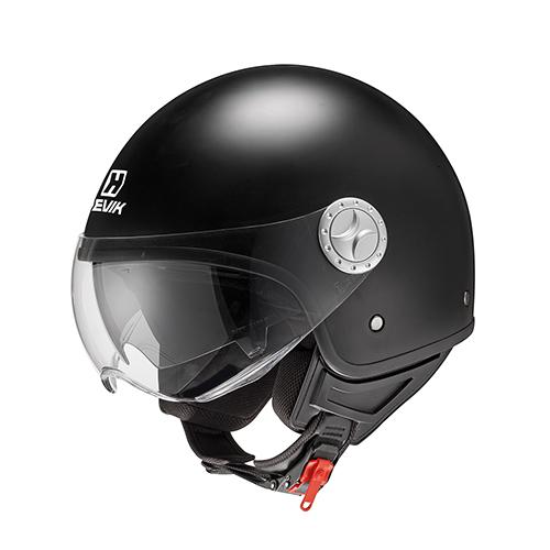 Casque jet COOL BLACK en matériau thermoplastique, courroie de micromètre et intérieur amovible
