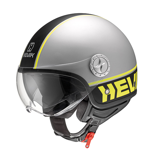 Jet helmet COOL FLUO in thermoplastic material, micrometric strap and removable interior
