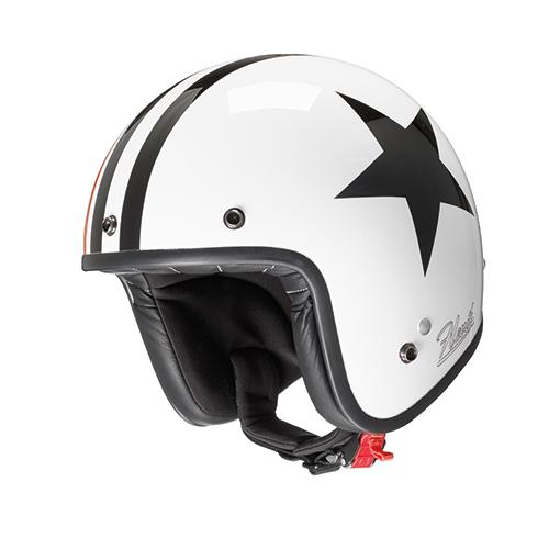 Jet helmet BLACK STAR in composite fibers with micrometric strap