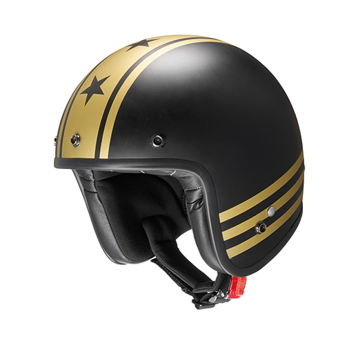 Jet helmet GOLD STRIPES in composite fibers with micrometric strap