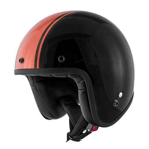 Jet helmet ORANGE in composite fibers with micrometric strap