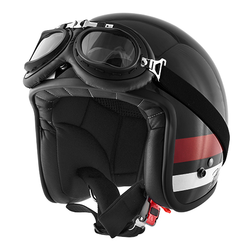 Jet helmet VINTAGE in composite fibers with micrometric strap